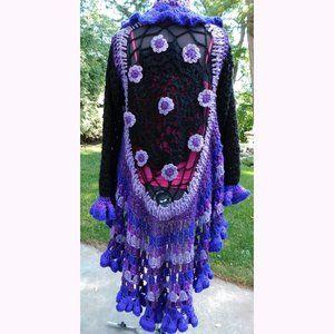 Black Purple Spider Web Crochet Hi Low Sweater L/X